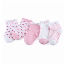 5 PAIRS / LOT BABY COTTON LOVELY MOON STARS PRINTED SOCKS (LIGHT PINK))