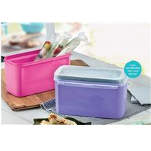 Tupperware Ezy Keeper Rect Small  (2) 2.6L - Pink & Purple