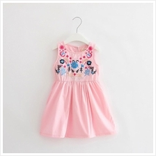 Elegant girls national wind embroidery flower dress (Pink & White)