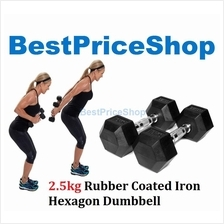 2.5kg 5kg 7.5kg Premium Rubber Coated Iron Hexagon Dumbbell Chrome Bar