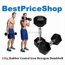 10 15 20 25kg Premium Rubber Coated Iron Hexagon Dumbbell Chrome Bar