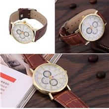 3 Colors Men's Fashionable Casual Roman Watch Leather Wristwatch