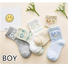 [KI 009] 5 IN 1 BOX CHILD SOCKS CUTE BABY KID SOCK KIDS SHOES COTTON