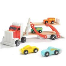TOPBRIGHT Pretend Play Motor Truck Wooden Double Layer Truck Toy