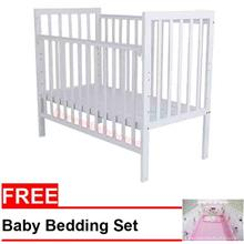 Royalcot R108 White Baby Cot + FREE Pink Minnie Mouse Bedding Set