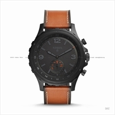 FOSSIL FTW1114 Men's Q Nate Hybrid Smartwatch Leather Strap Dark Brown