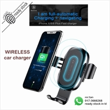 Baseus 10W QI Wireless Charger Car Mount Holder For iPhone X 8 Samsung