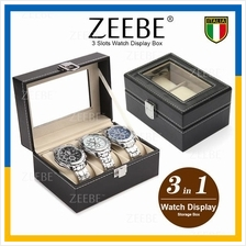 3 Slots Premium Quality Leather Watch Case Storage Box Container
