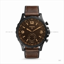FOSSIL FTW1159 Men's Q Nate Hybrid Smartwatch Leather Strap Dark Brown