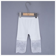 SWEET LACE FLOWERS SOLID COLOR KNEE LENGTH LEGGINGS FOR GIRLS (OFF-WHI)