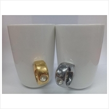 White Couple Mug With Cute Diamond Holder - Gold & Silver