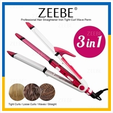 ZEEBE 3 in 1 Professional Hair Straightener Iron Wave Perm Tight Curl