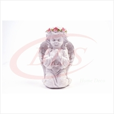 POLYRESIN WHITE COLOR KNEELING ANGEL H 21 CM WITH WINGS