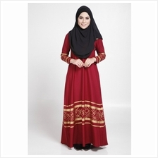 MODERN LONG SLEEVE GOLD CURVE JUBAH DRESS (RED, SIZE M))