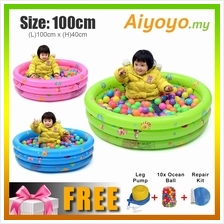 (L)100x(H)40cm Inflatable 3 Rings Round Swimming Pool Family Children