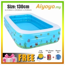(L)130x(W)90x(H)50cm Inflatable 3 Rings Swimming Pool Family Children