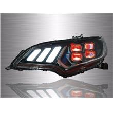 HONDA JAZZ GK 2014-18 Mustang Red Demon Eyes LED Projector Head Lamp