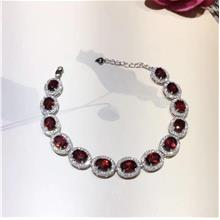 542362086405 Natural burgundy garnet plated platinum bracelet