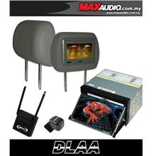 DLAA 7' HD Motorized Double Din DVD TV Player w GPS + Headrest Monitor