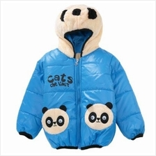CUTE PANDA HAT LONG SLEEVE ZIPPERED PRINTED PADDED COAT FOR KIDS (BLUE)