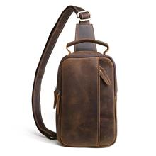 Men Vintage Genuine Cowhide Leather Crazy Horse Sling Bag (Brown)