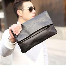 Men PU Leather Fold Clutch Bag (Black)