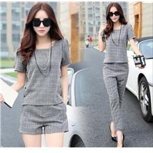 Women Grey Plaid Clothing Set - Shirt + Long / Short Pants