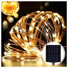 20M 200 LED Solar Copper Wire String Fairy Light Xmas Party Raya