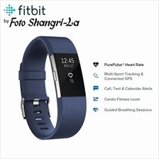 Fitbit Charge 2 Heart Rate Fitness Wristband (Large, Blue) 6.7 - 8.1'