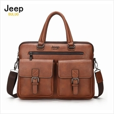 Jeep Buluo Leather Bag Handbag Business Briefcase 14 inch Notebook Bag