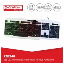 CLiPtec KLASSIC-NEO USB LED Illuminated Keyboard-RZK248 (White))