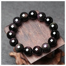 16mm Black Obsidian Round Loose Beads with Rainbow Eyes Stretch Women
