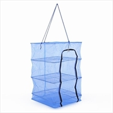 DURABLE FISHING VEGETABLES NET DRYING TOOL WITH SMALL MESH ZIPPER FOLD