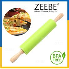 ZEEBE Non-Stick Silicone Dough Flour Wooden Rollers Rolling Pin