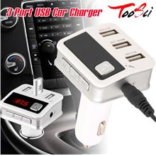 3 Port USB Car Charger Wireless 10M Bluetooth V3.0+EDR Hands-Free MP3