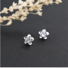 S925 Silver Plated Blossoming Plum Ear Stud Earrings