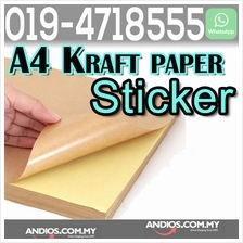 100pc A4 Kraft Paper Label Sticker Print Self Adhesive Office Kertas