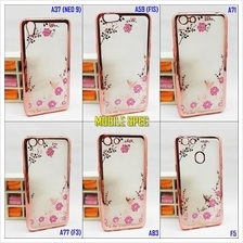 Oppo A37 A59 F1S A71 A77 F3 A83 F5 Transparent Flower Diamond Case