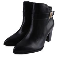 STYLISH POINTED TOE ZIPPER DESIGN LADIES THICK HEEL LEATHER ANKLE BOOT)
