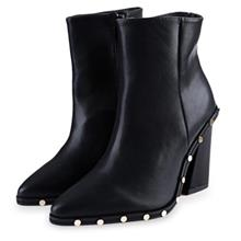 STYLISH RIVET POINTED TOE LADIES THICK HIGH HEEL ANKLE BOOTS (BLACK))