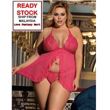 Plus Size Lingerie Sexy Babydoll (Pink) XL / 3XL [High Quality]