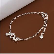 STYLISH LETTER SOLID COLOR HOLLOW OUT ANKLET FOR WOMEN (WHITE))