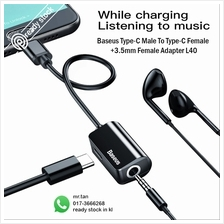 Baseus Type-C Male to Type-C Female Charging Cable+3.5mm Jack Adapter