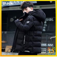 Men Hooded Feather Down Long Sleeve Winter Autumn Jacket Coat)