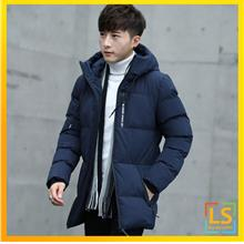 Men Hooded Long Sleeve Feather Down Winter Autumn Jacket Coat)