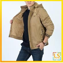 Men Hooded Long Sleeve Casual Winter Autumn Spring Jacket Coat)