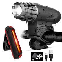 USB Rechargeable XML T6 CREE LED Bicycle Bike Front + Back Light Lamp
