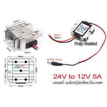 Fulree 24V to 12V 5A step down converter 5.5mm*2.1mm DC Plug ICE CCTV