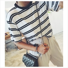14321 Double Stripe black and white T-Shirt