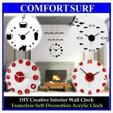 Creative Home Interior Decoration Frameless DIY Acrylic Wall Clock